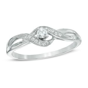 💍1/10 CT. T.W. Diamond Bypass Promise Ring Sz 6